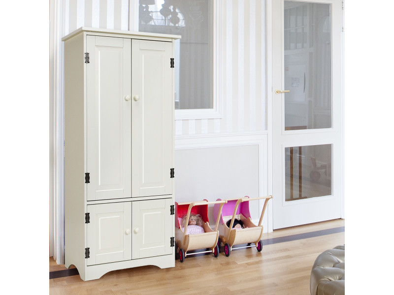 Giantex armoire de chambre en bois de style vintage pour rangement avec 2 etagères réglables à 5 positions en bois 55 x 30,5 x 124,5cm
