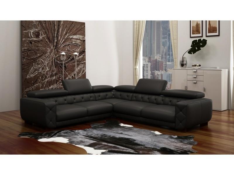 Canapé d'angle en cuir noir capitonné max-