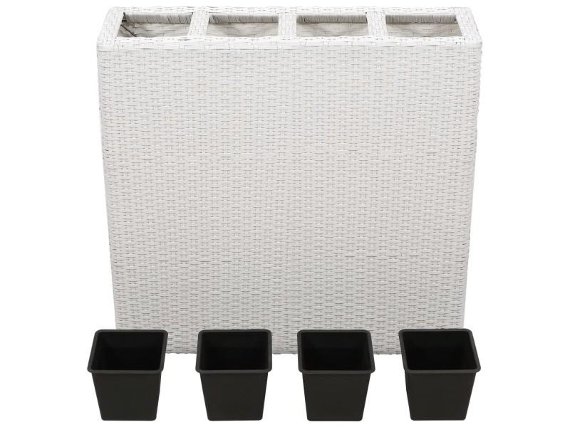 Icaverne - pots et cache-pots ensemble lit surélevé de jardin avec 4 pots résine tressée blanc