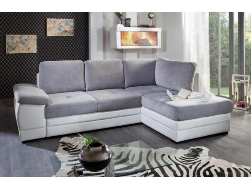Canapé d'angle gigogne convertible sinope en bi matière méridienne droite 20100865652