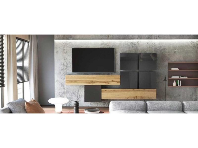 Meuble tv moderne laqué blanc et gris sablé 200 cm avec led