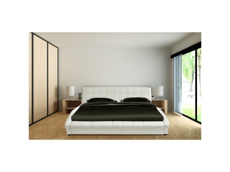 cadre de lit avec sommier lattes 160 x 200 cm en simili cuir capitonn blanc los angeles l. Black Bedroom Furniture Sets. Home Design Ideas
