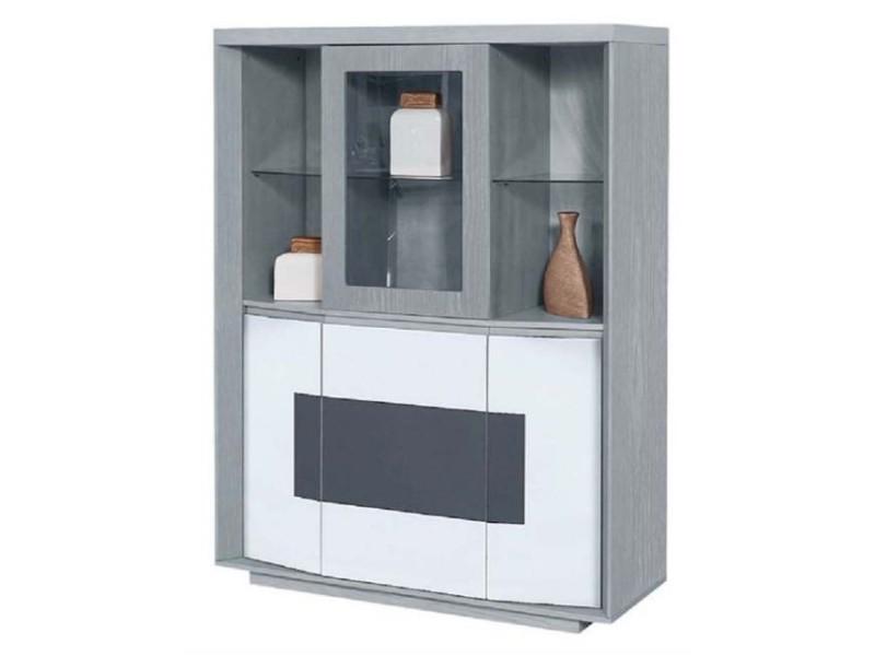 Bobochic vitrine en bois design plymouth gris et blanc
