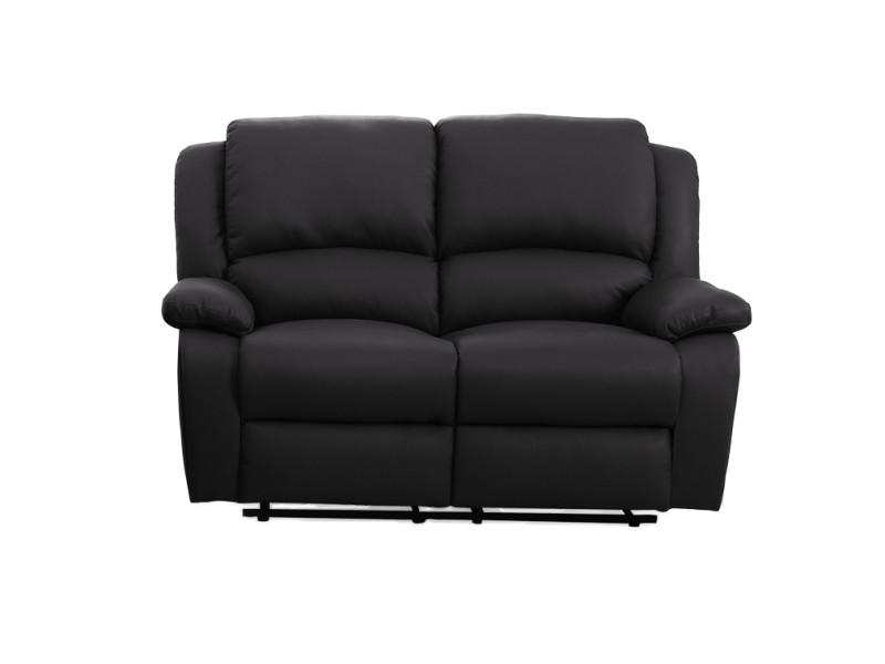 canap relaxation 2 places simili cuir detente couleur noir 9121noir2 conforama