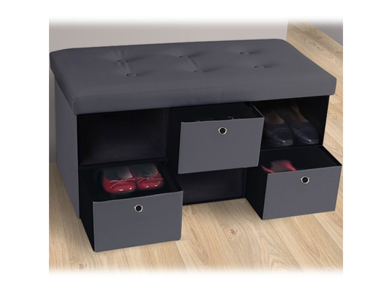 banc coffre 3 tiroirs gris 76x38x38 cm pvc pliable vente de id market conforama. Black Bedroom Furniture Sets. Home Design Ideas