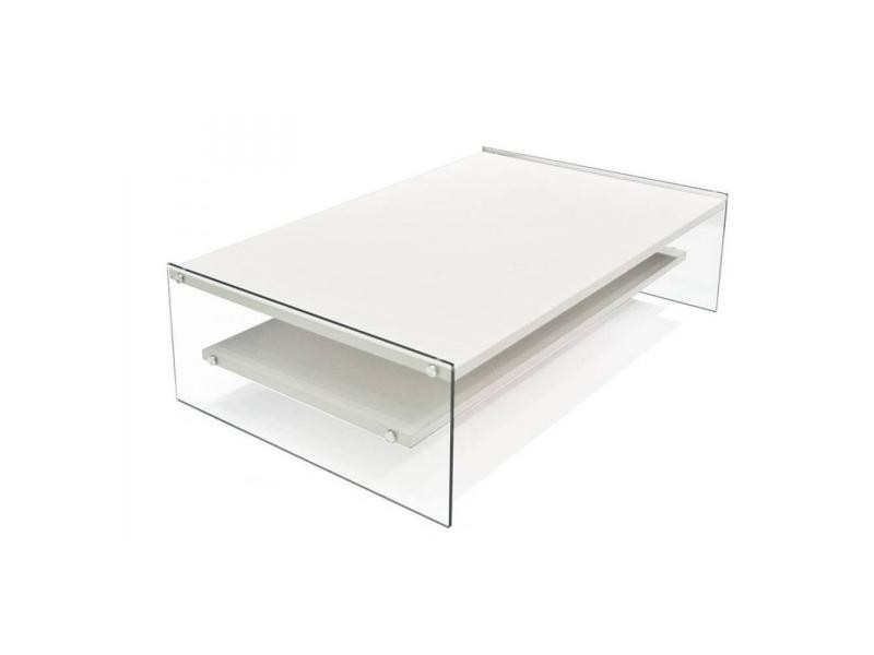 Table basse rectangle bella 2 plateaux blanc mat piétement en verre 20100847205