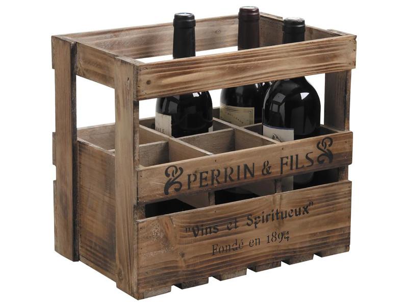 Caisse 6 bouteilles en bois vieilli - dim : 33 x 21 x 29 cm -pegane- PEGANE