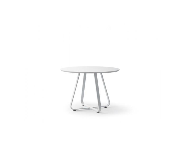 Table à manger ronde bois laqué blanc et pieds métal delphine - l 110 x l 110 x h 75