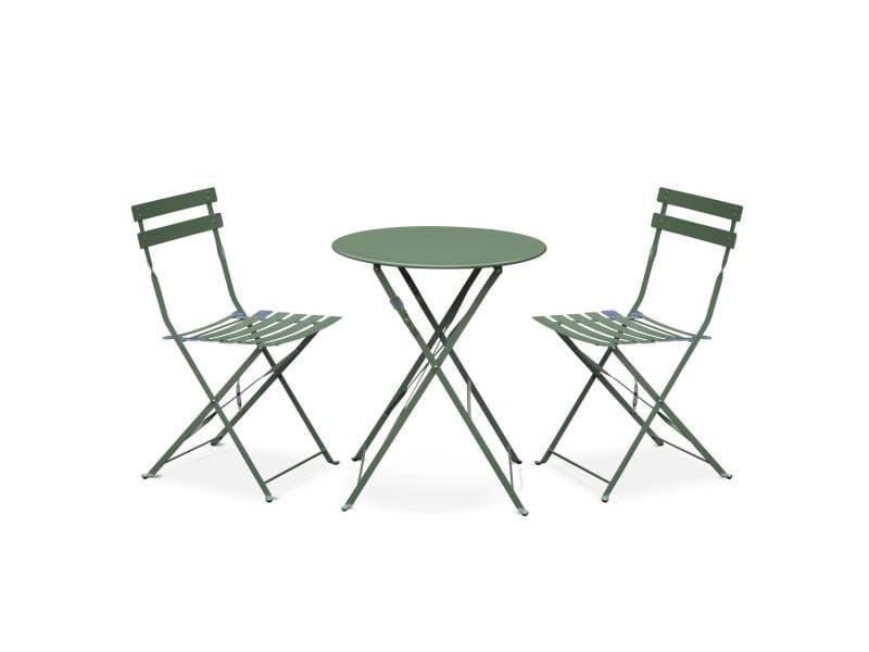 Salon de jardin bistrot pliable emilia rond vert de gris, table ...
