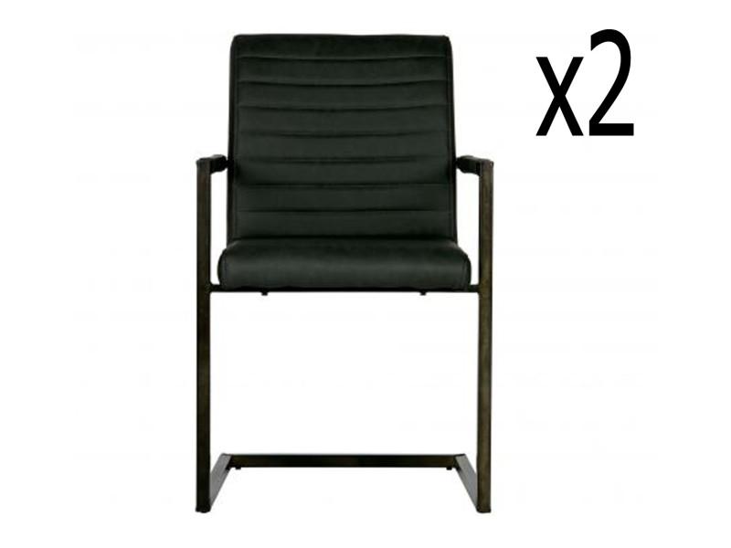 Chaise coloris anthracite en pu - dim: 87 x 54 x 62 cm -pegane-
