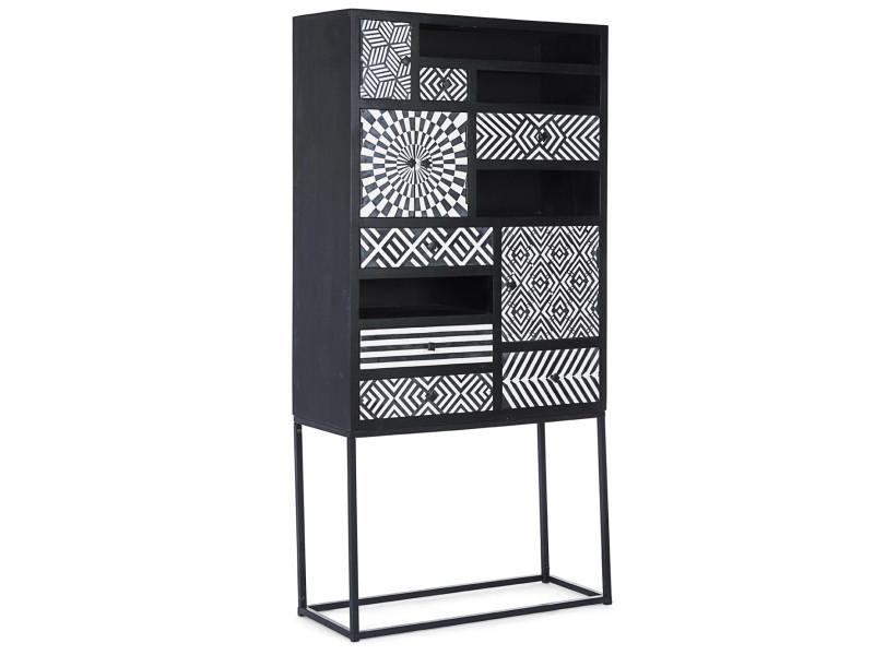 Meuble vitrine en bois de manguier coloris noir motif blanc - l.90 x p.35 x h.180 cm