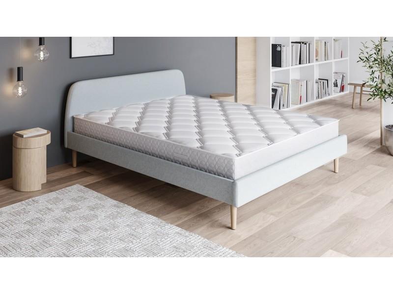 Ensemble matelas ressorts 160x200 spring confort + lit gris clair + sommier à lattes - mousse hd + ressorts ensachés - hbedding 160 x 200 cm