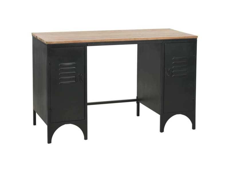 Vidaxl bureau à double piédestal bois de sapin et acier 120x50x76 cm 246422