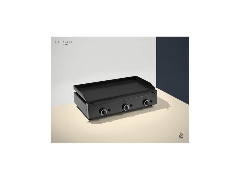 Plancha a gaz colorée - 3 brûleurs - plaque lisse 14 mm - 800 x 455 x 230 mm - pinha2 - anthracite acier émaillé