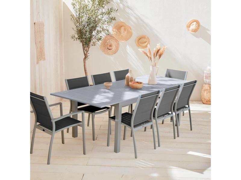 Salon de jardin chicago 8 places table à rallonge extensible ...