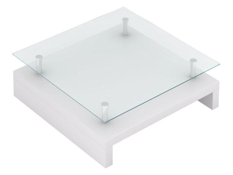 Table basse de salon salle à manger design blanche verre 77 x 77 cm helloshop26 0902009