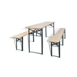 Vidaxl ensemble de table et banc brasserie pliable 3 pièces bois