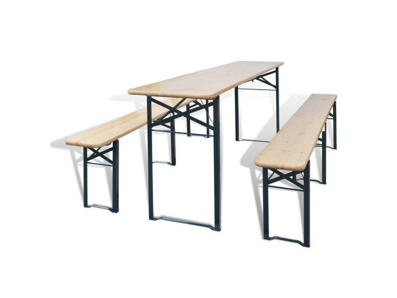 Vidaxl table avec 2 bancs 220 cm bois de sapin 42207