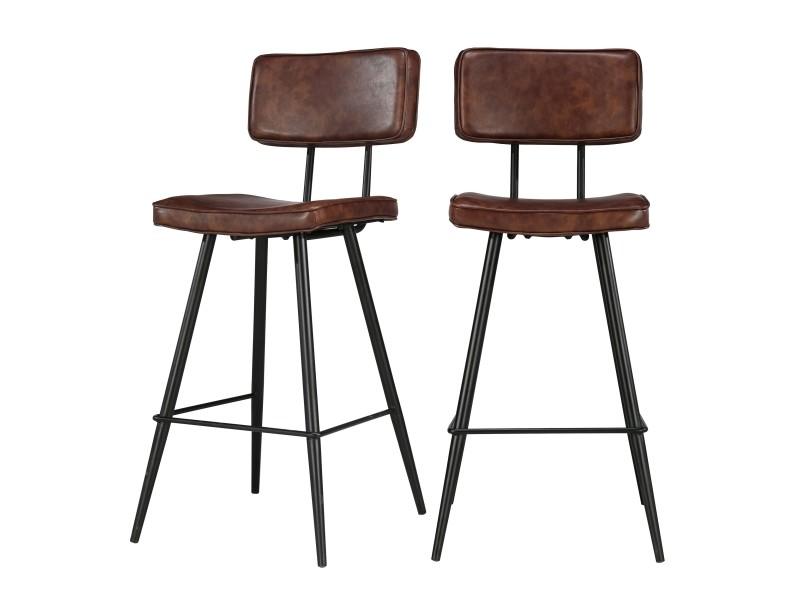 chaise de bar texas marron 65 cm lot de 2 vente de bar. Black Bedroom Furniture Sets. Home Design Ideas