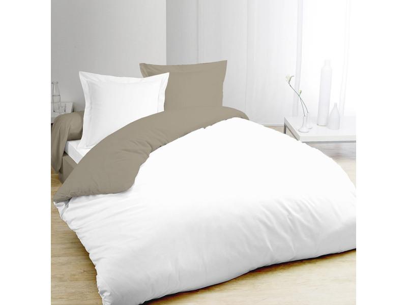 Housse de couette bicolore taupe et blanc 240x220cm + 2 taies 7OAKS15042HC3