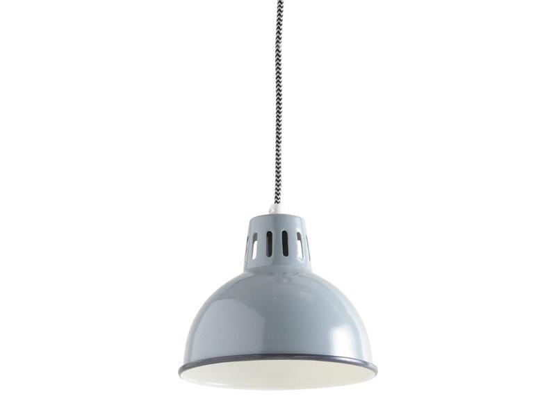 Lampe suspension en métal laqué gris vert - dim : 19 h 16-106 cm - pegane -