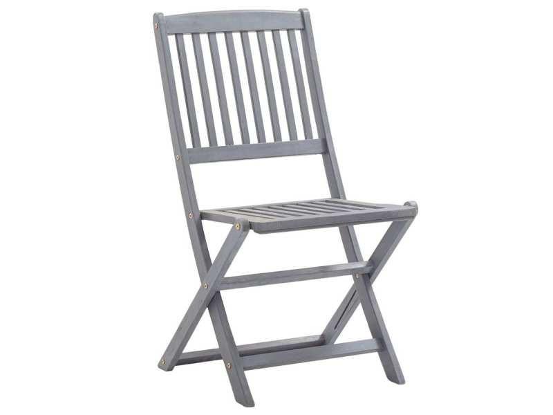 Icaverne - chaises de jardin serie chaises pliables d'extérieur 4 pcs bois d'acacia solide