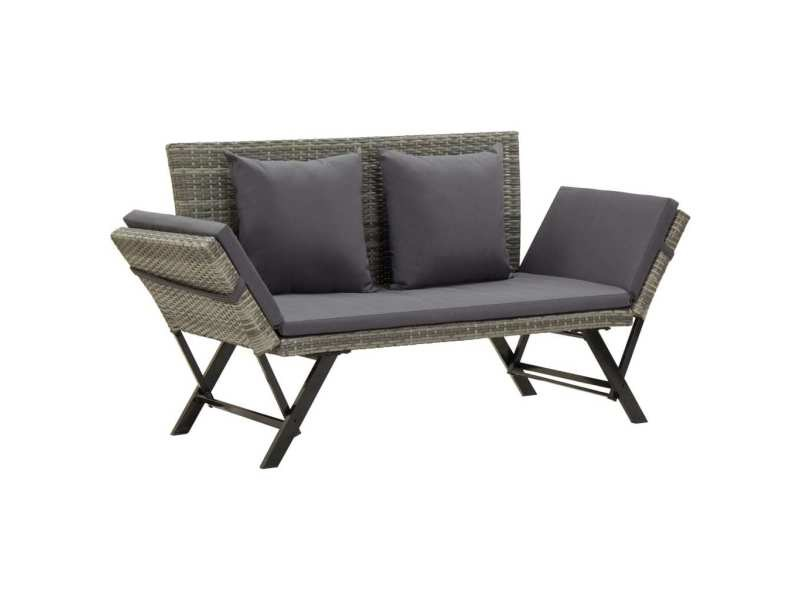 Chic sièges de jardin famille addis-abeba banc de jardin avec coussins 176 cm gris résine tressée
