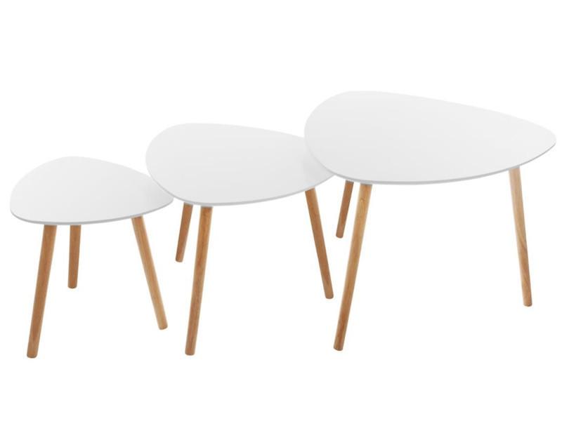 Lot de 3 tables à café en mdf et chêne coloris blanc -pegane