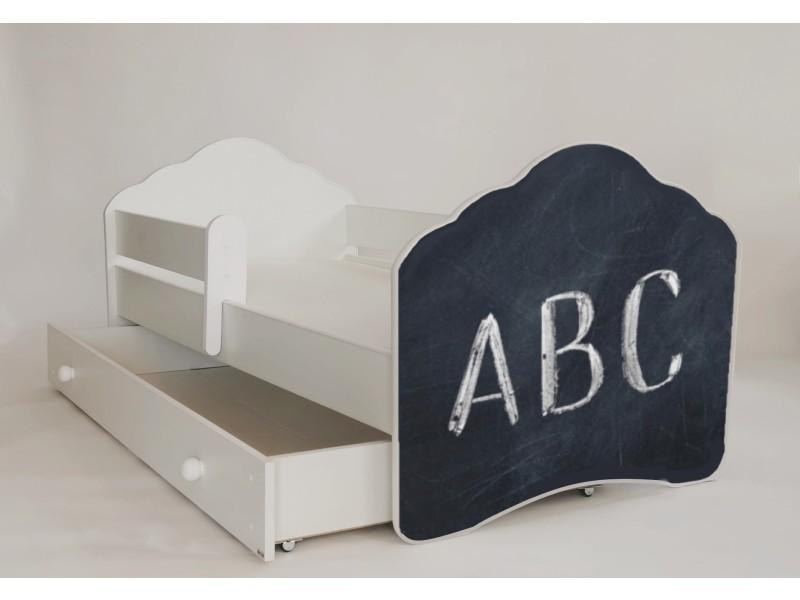 lit enfant peinture la craie 80x160 cm avec barriere de. Black Bedroom Furniture Sets. Home Design Ideas