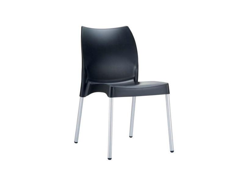 Chaise de jardin avec siège en plastique noir - 80 x 44 x 53 cm -pegane-