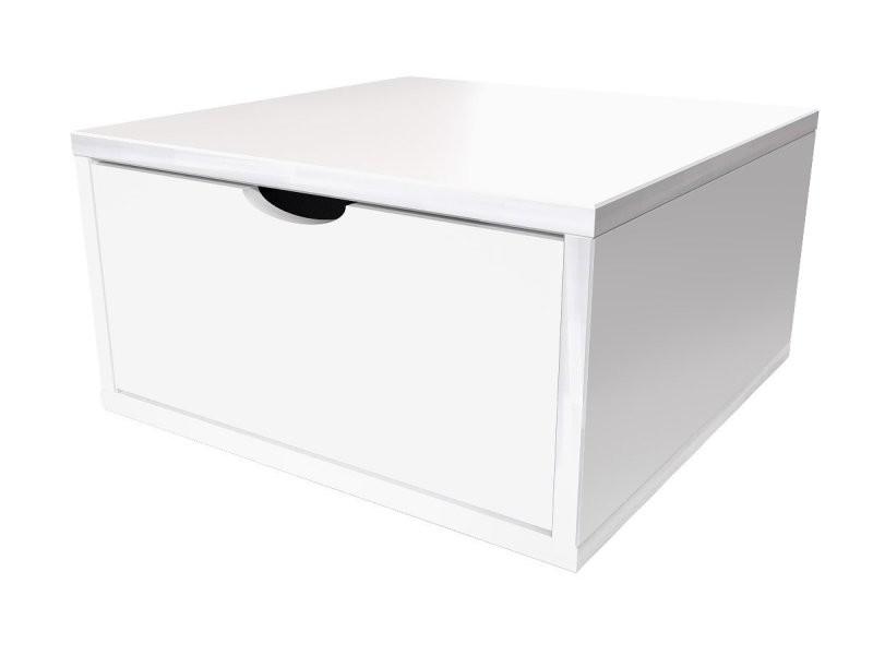 Cube de rangement 50x50 cm + tiroir bois blanc CUBE50T-LB