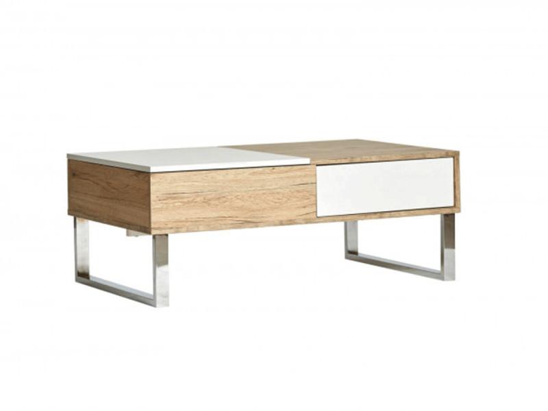 Bobochic table basse bergen bois clair et blanc