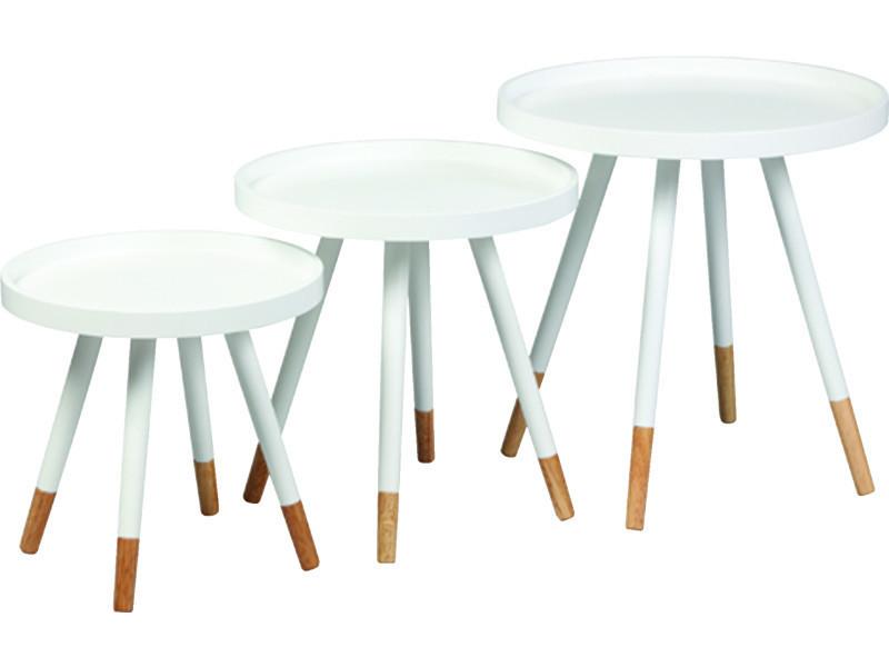 Lot de 3 tables gigognes en mdf laqué blanc - pegane -