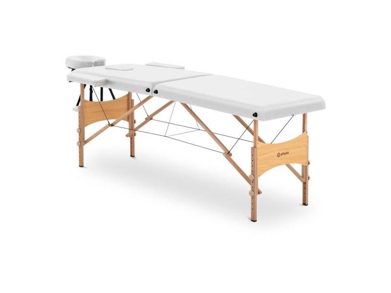 Table de massage pliante pliable professionnelle lit portable en bois portative matériel à domicile mobile hêtre pvc 227 kg haut sac compris blanc helloshop26 14_0003641