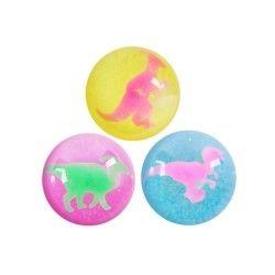 1 balle rebondissante dinosaure colorée & paillettée
