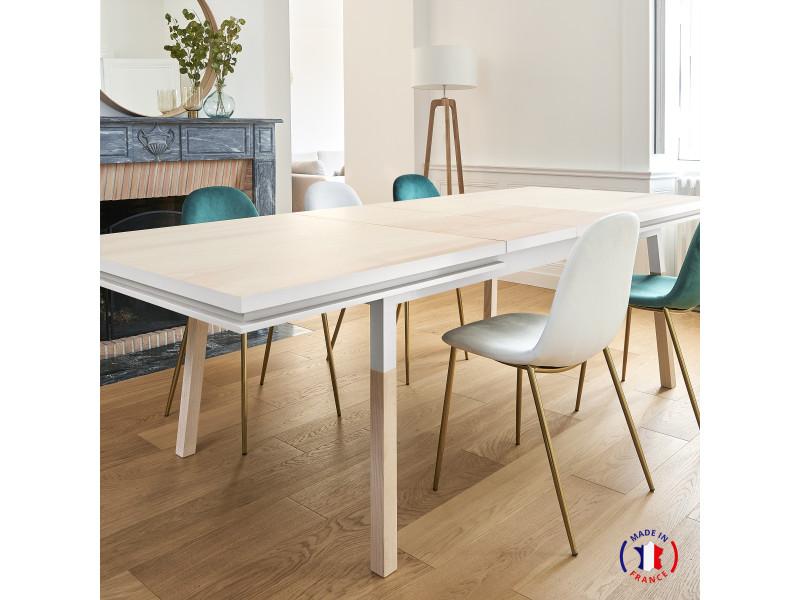 Table extensible bois massif 220x120 cm blanc balisson - 100% fabrication française