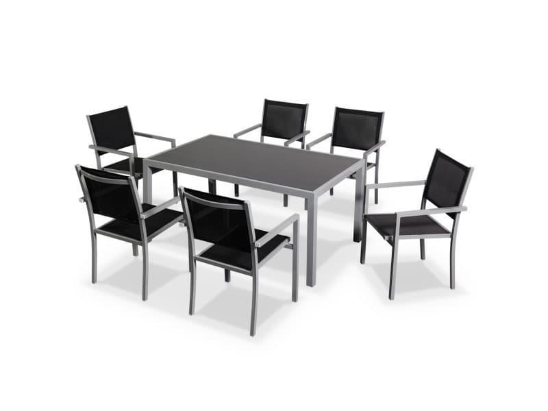 Salon de jardin capua en aluminium table 150cm, 6 fauteuils en ...
