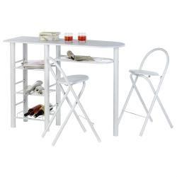 Table haute de bar chaises style mdf blanc