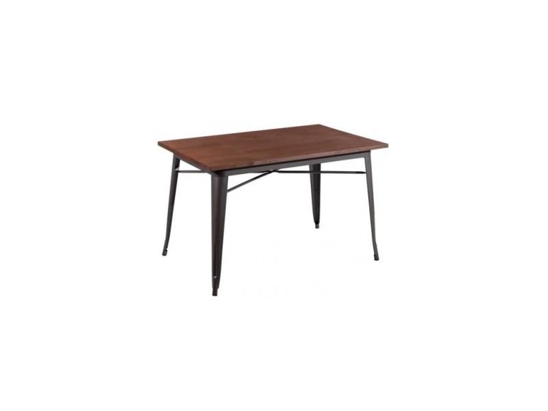 Table à mange gris bois/métal 120 cm dallas