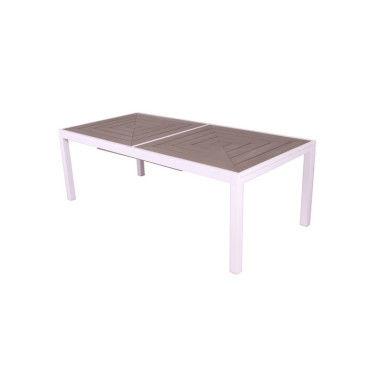 Table de jardin en composite beige lamia - Vente de Salon de jardin ...