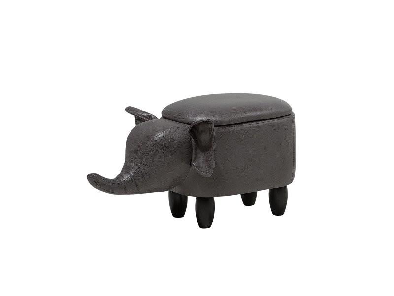Tabouret enfant en simili-cuir gris foncé elephant 105953