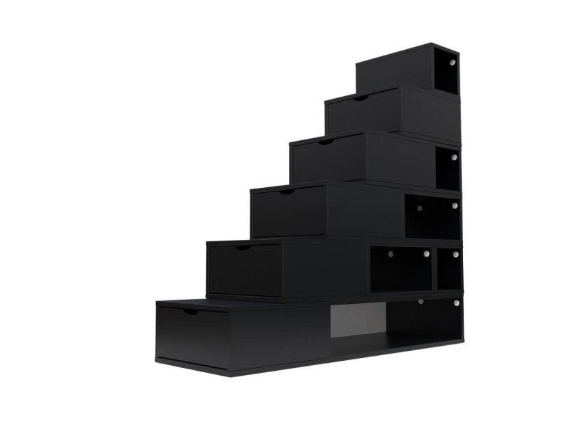 Escalier cube de rangement hauteur 150cm noir ESC150-N
