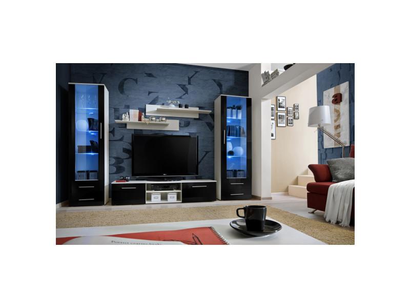 Ensemble meuble tv mural - galino c - 320 cm x 190 cm x 45 cm - blanc et noir