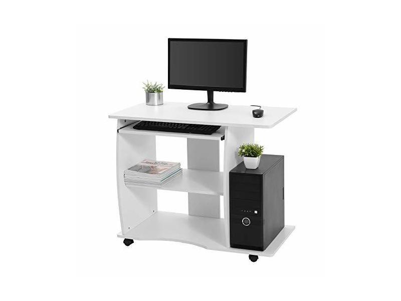 Vasagle bureau mobile table informatique avec roulettes table d