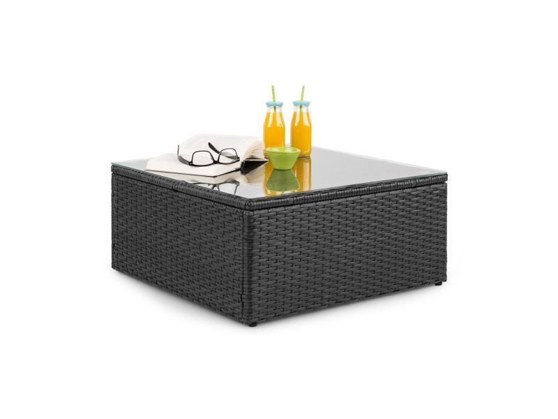 Blumfeldt theia table de salon de jardin élégante avec plateau en verre - design polyrotin tressé noir GDMC5-Theia Table BL