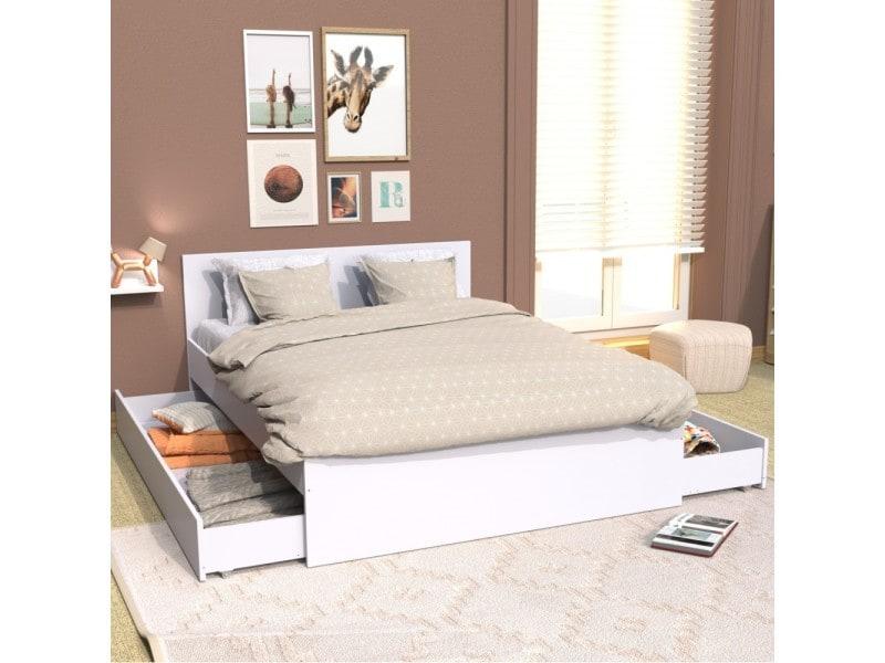 Lit X Cm Avec Tête De Lit Et Deux Tiroirs Oslo Blanc - Tete de lit tiroir