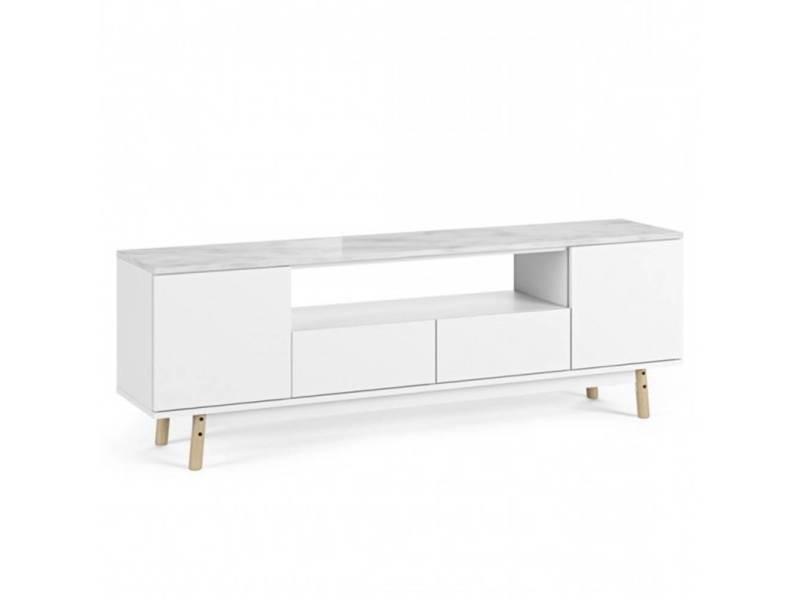 Meuble tv lyon plateau marbre blanc pied chêne 20100878140