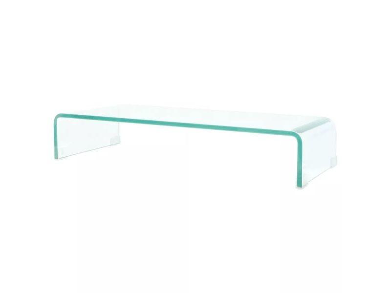 Meuble télé buffet tv télévision design pratique pour moniteur 70 cm verre transparent helloshop26 2502255