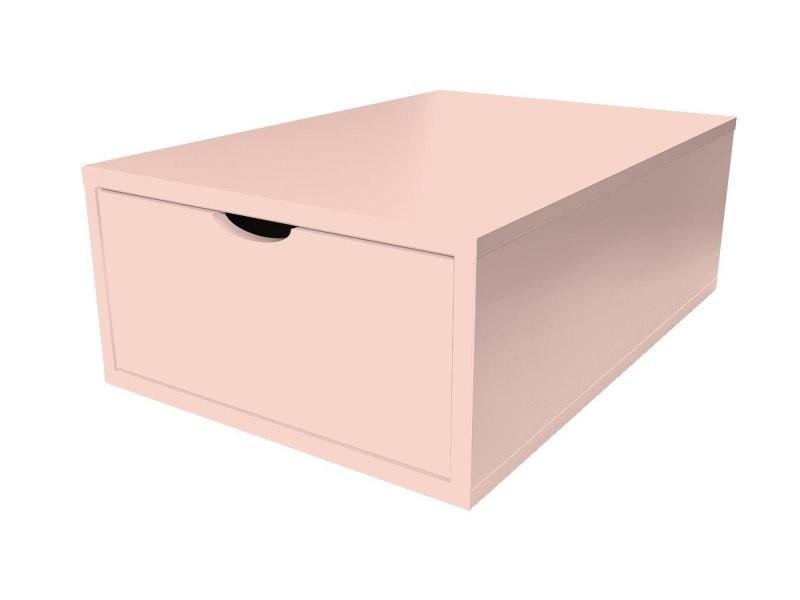 Cube de rangement bois 75x50 cm + tiroir rose pastel CUBE75T-RP
