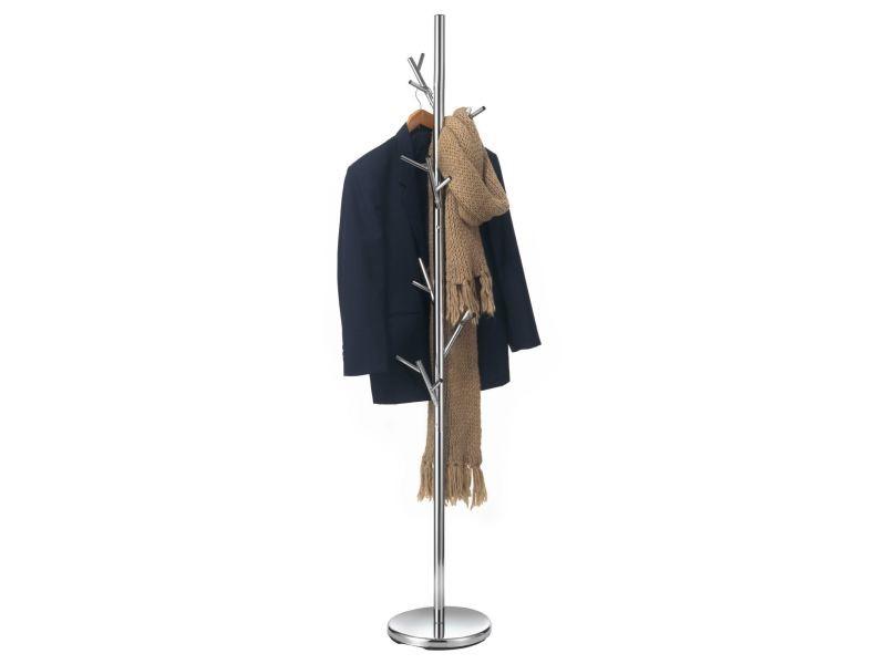 Porte-manteaux zeno portant à vêtements sur pied en forme d'arbre avec 6 crochets sur différentes hauteurs, en métal chromé